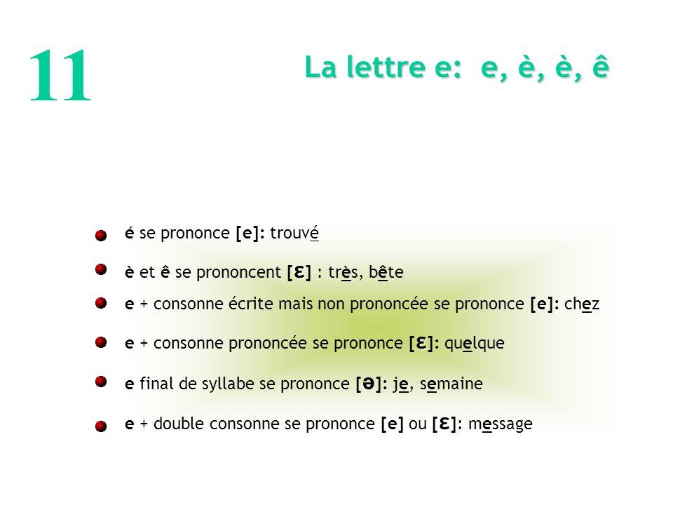 11 La lettre e: e, è, è, ê é se prononce [e]: trouvé